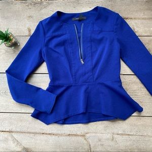 BCBGMaxazria Blue Peplum Jacket